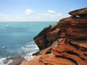 Red rocks and blue ocean, Western Australia