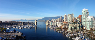Vancouver, British Columbia, harbour, skyscrapers and mountains