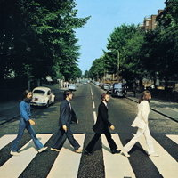 Beatles in zebra crossing, London from Abbey Road cover