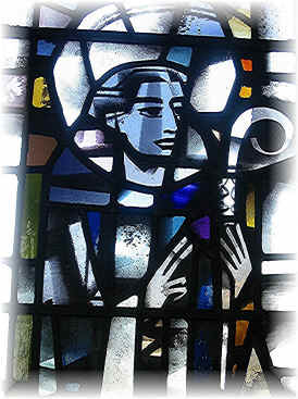 Portrait of Benedict in stained glass