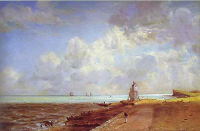 Constable's lighthouse on bay with ships and clouds