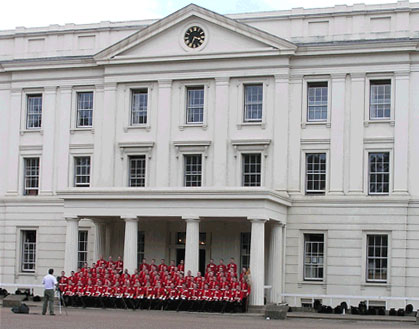 Georgian building and red-coated Foot Guards