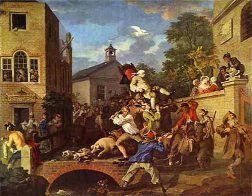 Hogarth's rambunctuous scene of a member being chaired