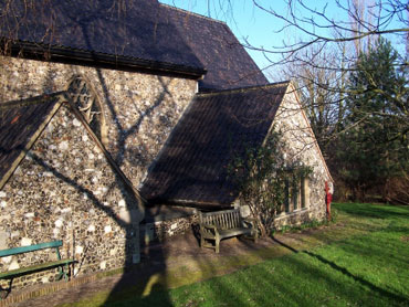 Julian's stone church in winter sunshine