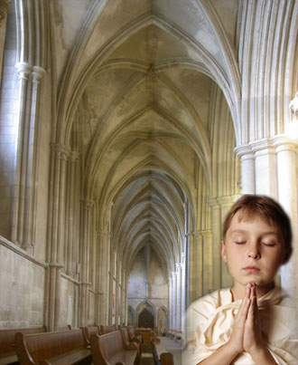 Boy praying in St. Alban's Church