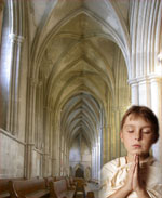 boy in St. Alban's church praying