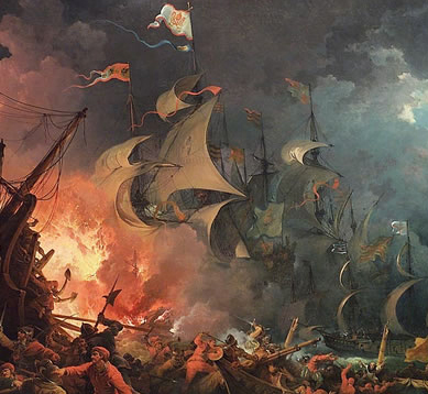 Fiery battle with Spanish Armada