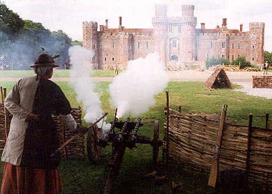 Reenactment of 16th century attack on castle with cannon