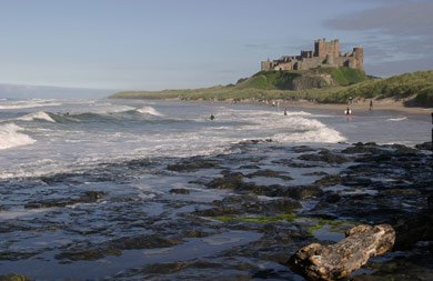 Bamburgh Castle on England's East Coast stands above the sea. It was built by the Normans.