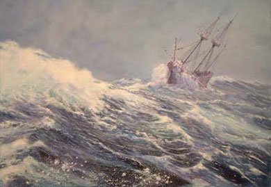 Mike Haywood's painting of a storm-tossed Mayflower in mid-Atlantic