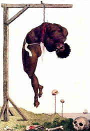 Slave hanging on gallows