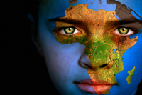Boy with map of Africa on face