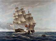 Royal Navy ship pursuing a slave trader