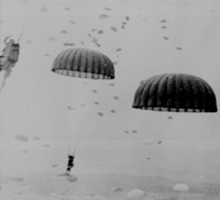 Paratroopers landing in the Netherlands in World War II