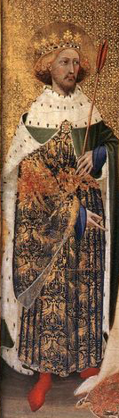 Edmund in robes with a red arrow