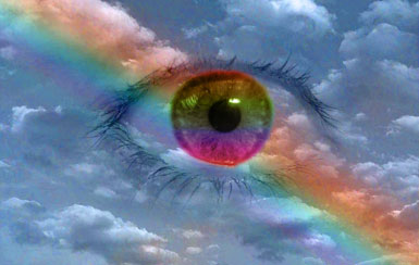 Eye in the sky with rainbow