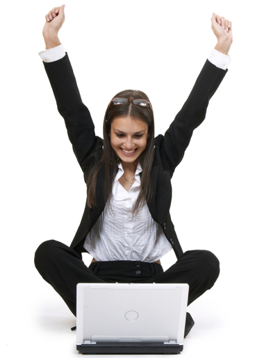 Girl lifts in arms in triumph over wireless computer