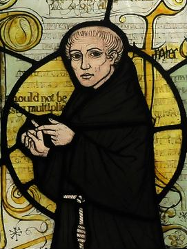 Stained glass window showing William