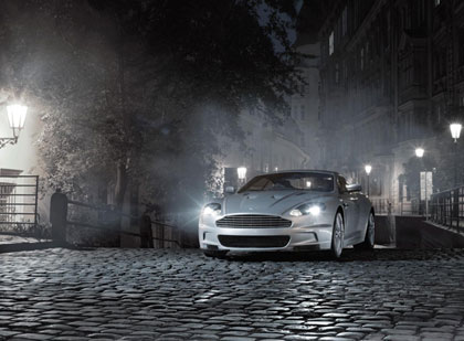 Aston Martin at night