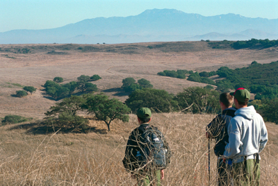 Boy scouts gaze out over wilderness