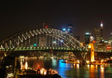 Sydney Bridge glittering at night