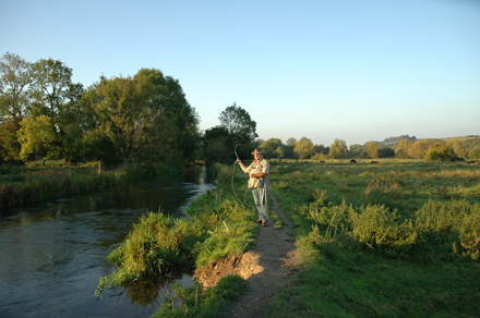 Fly-fishing at evening on the Itchen