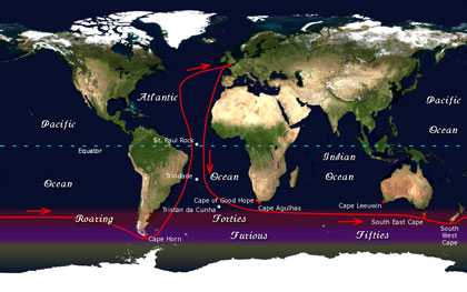 Route of Golden Globe race