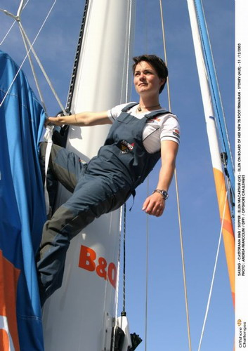 Ellen MacArthur in bib jeans on her trimaran