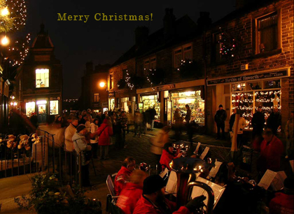 Christmas Carols at night in Haworth