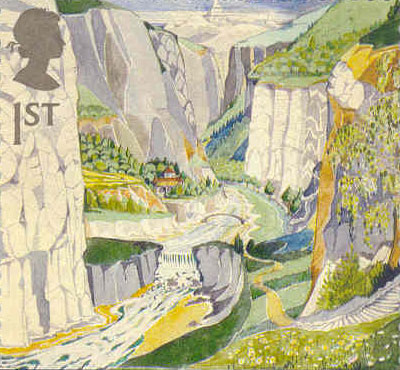 Stamp showing Queen's profile above landscape of Tolkien's Rivendell