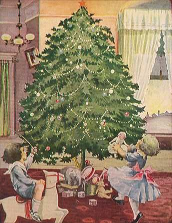 Children and tree on Christmas card